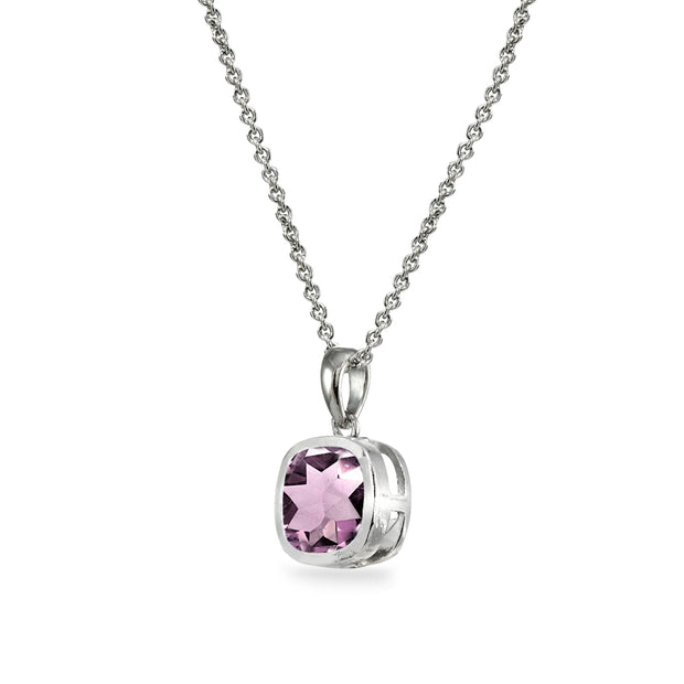 Sterling Silver Created Alexandrite 7mm Cushion-Cut Bezel-Set Pendant Necklace