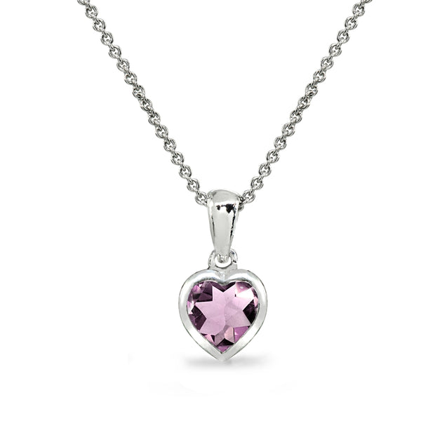 Sterling Silver Created Alexandrite 7mm Heart Bezel-Set Pendant Necklace