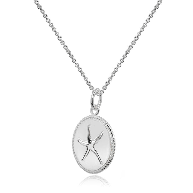Sterling Silver Polished Sea Starfish Medallion Coin Round Pendant Necklace
