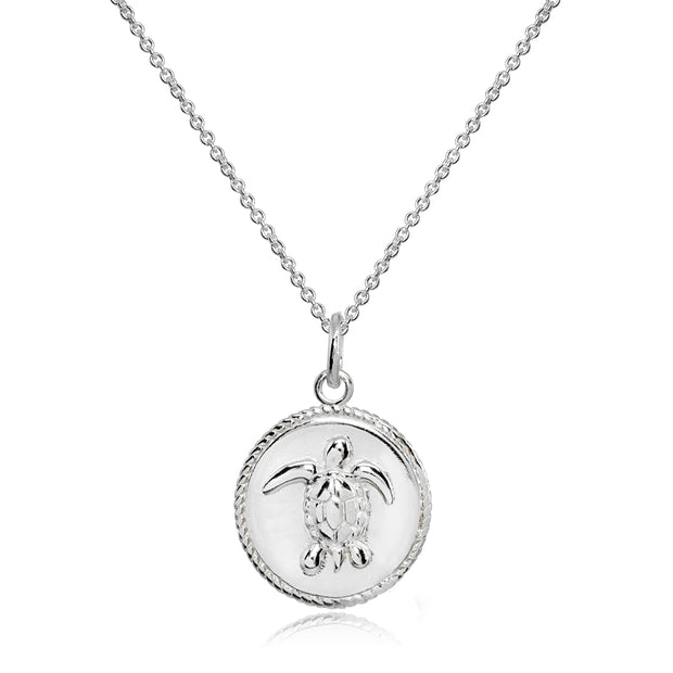 Sterling Silver Polished Sea Turtle Medallion Coin Round Pendant Necklace