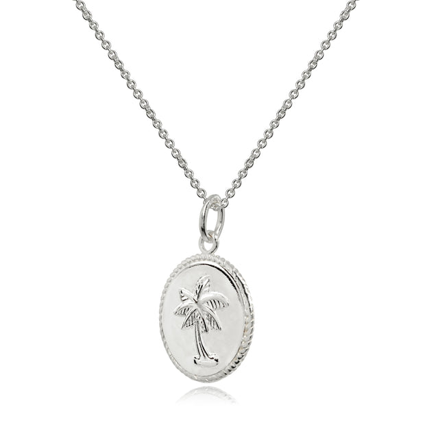 Sterling Silver Polished Palm Tree Summer Medallion Coin Round Pendant Necklace
