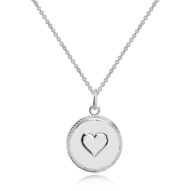 Sterling Silver Polished Heart Love Medallion Coin Round Pendant Necklace