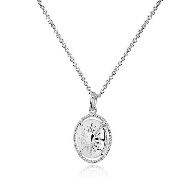 Sterling Silver Polished Sun Celestial Medallion Coin Round Pendant Necklace