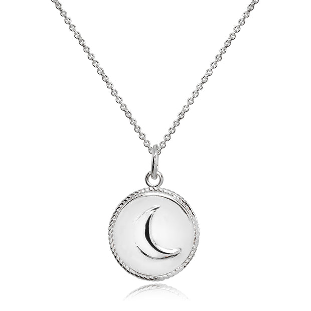 Sterling Silver Polished Crescent Moon Celestial Medallion Coin Round Pendant Necklace