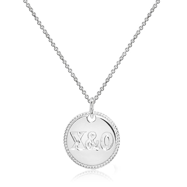 Sterling Silver Polished X&O Hugs and Kisses Medallion Coin Round Pendant Necklace