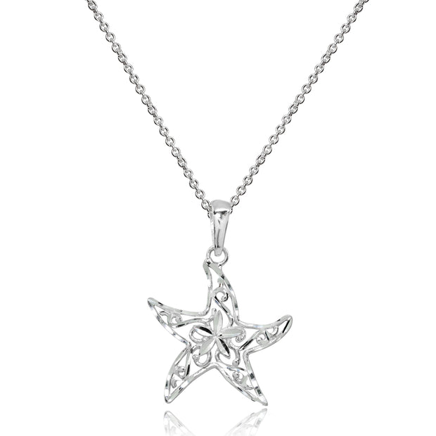 Sterling Silver Polished Sea Starfish Filigree Pendant Necklace