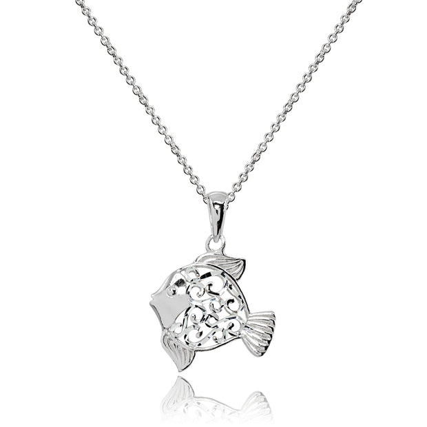 Sterling Silver Polished Fish Animal Filigree Pendant Necklace