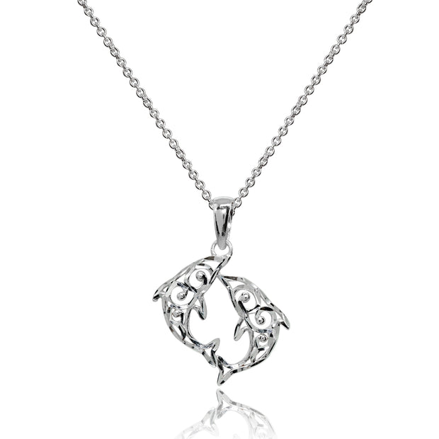 Sterling Silver Polished Two Dolphins Filigree Pendant Necklace