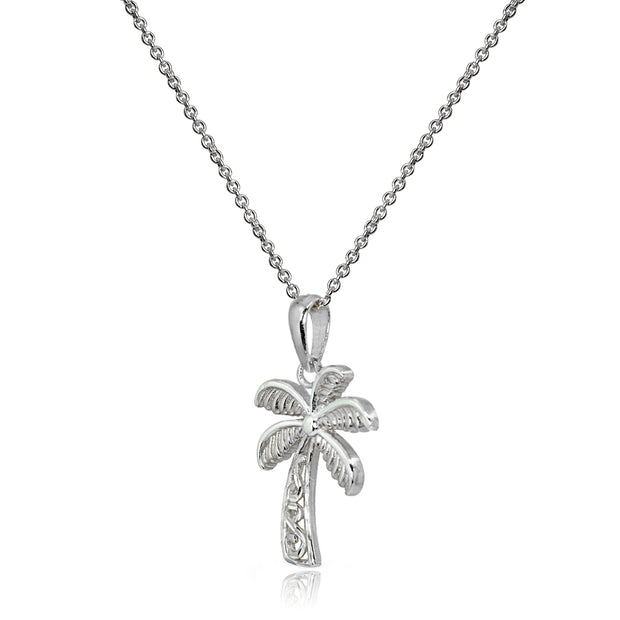 Sterling Silver Polished Palm Tree Summer Filigree Pendant Necklace