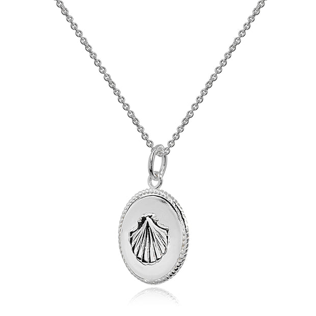 Sterling Silver Polished Sea Shells Medallion Coin Round Pendant Necklace