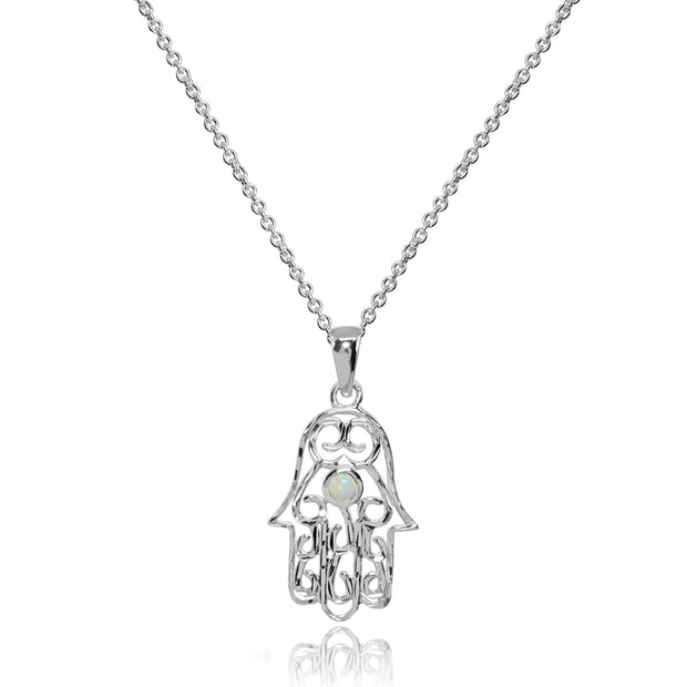 Sterling Silver Synthetic White Opal Round Polished Hamsa Hand Filigree Pendant Necklace