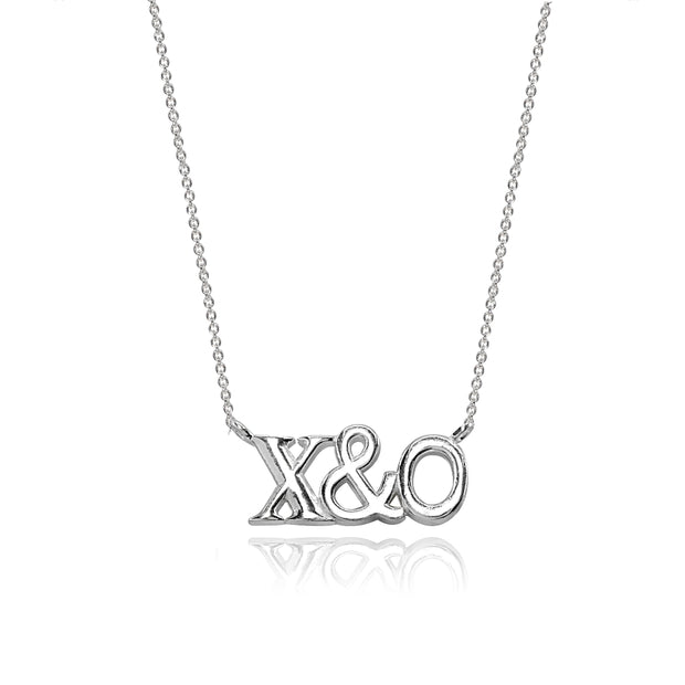 Sterling Silver Polished X&O Hugs and Kisses Necklace