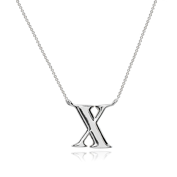 Sterling Silver Polished X Alphabet Letter Initial Necklace