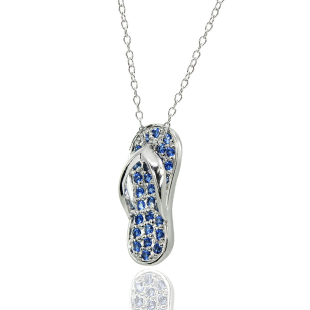 Sterling Silver Simulated Blue Sapphire Flip-Flop Beach Sandal Necklace