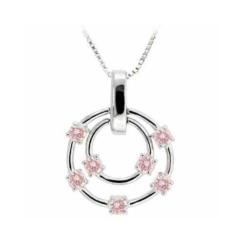 Sterling Silver Pink CZ Floating Double Circle Designer-Inspired Pendant