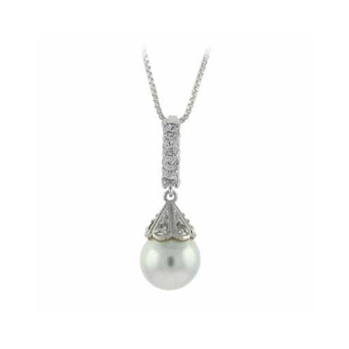 Sterling Silver Simulated Pearl & CZ Drop Pendant