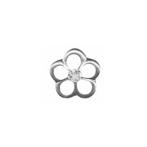 Sterling Silver CZ Flower Slide Pendant