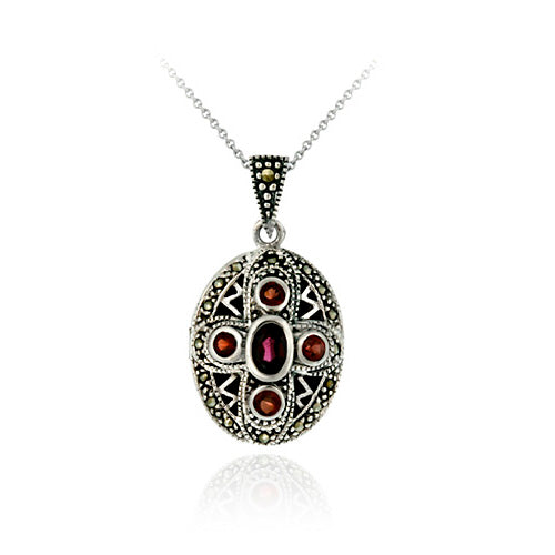 Sterling Silver Genuine Garnet & Marcasite Cross Locket