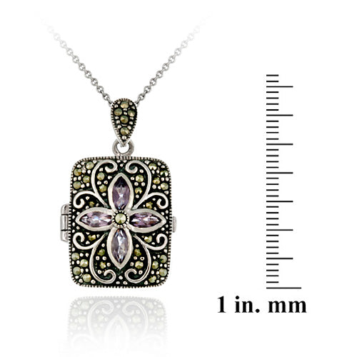 Sterling Silver Genuine Amethyst Flower Marcasite Locket Necklace