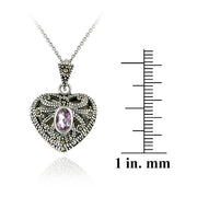 Sterling Silver Amethyst & Marcasite Heart Locket Necklace