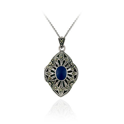 Sterling Silver Marcasite & Lapis Diamond Shaped Locket