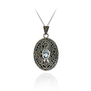 Sterling Silver Filigree Marcasite & Genuine Blue Topaz Cross Locket
