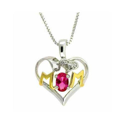 Sterling Silver Two-Tone Created Pink Sapphire & Diamond Accent MOM Heart Pendant