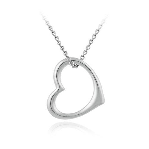 Designer Open Floating Heart Sleek Sterling Silver Pendant