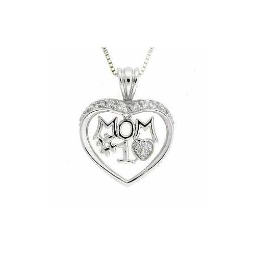 "Sterling Silver CZ Dangling ""MOM #1"" Open Heart Pendant"