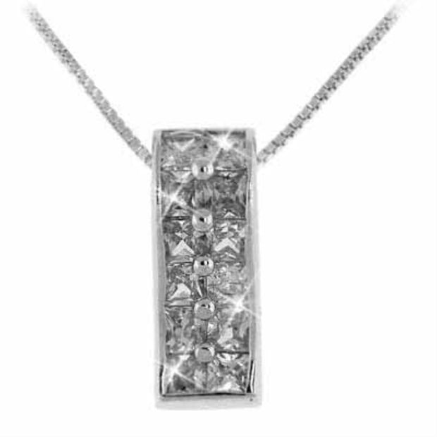 Sterling Silver Simulated Diamond CZ Cubic Zirconia Rectangle Pendant