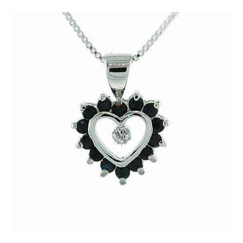 Sterling Silver Sapphire & Diamond Accent Open Heart Pendant
