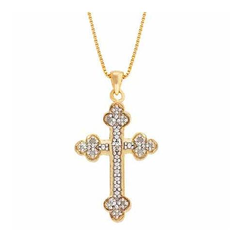 18K Gold over Sterling Silver 1/8ct Diamond Accent Cross Clover Necklace