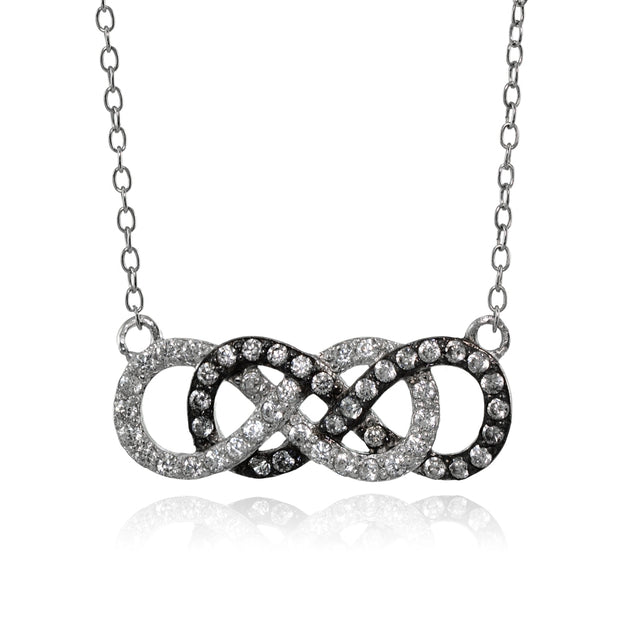 Sterling Silver Cubic Zirconia Double Infinity Fashion Necklace