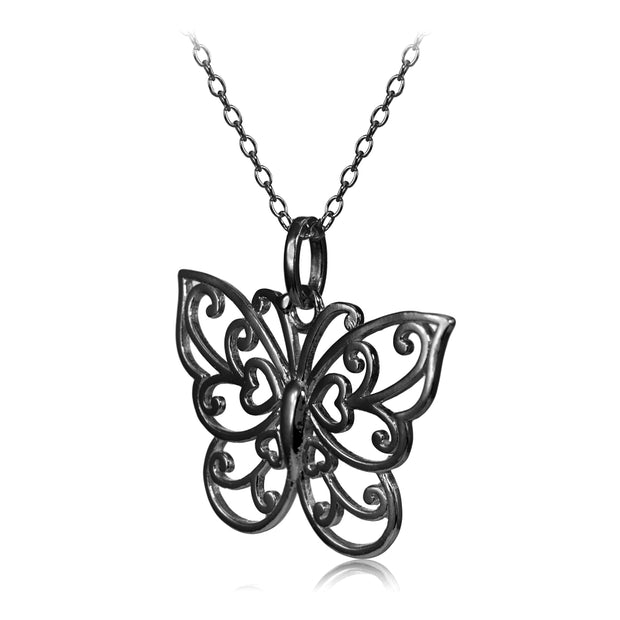 Black Flashed Sterling Silver High Polished Filigree Butterfly Necklace