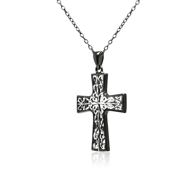 Black Flashed Sterling Silver Two-Tone Diamond-cut Filigree Cross Pendant Necklace