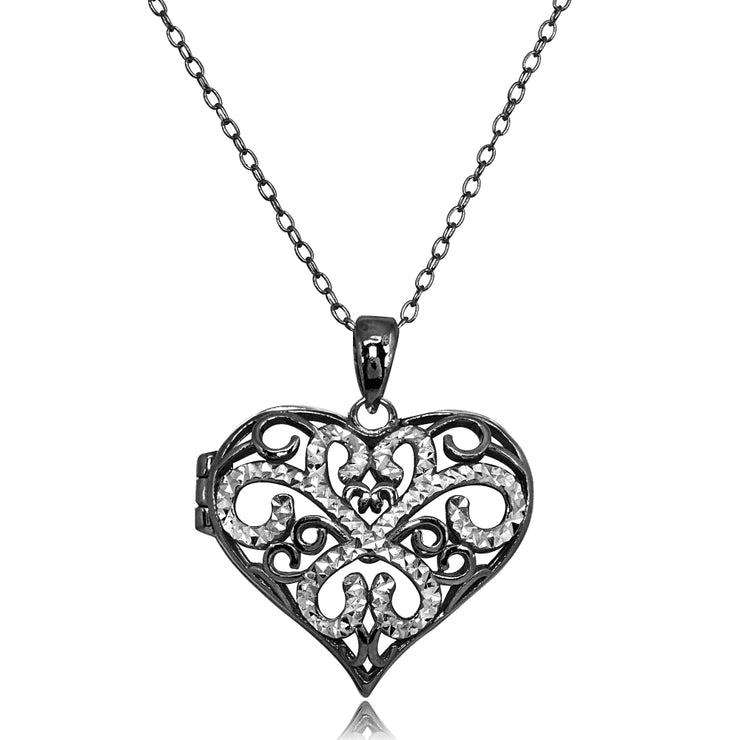 Black Flashed Sterling Silver Two-Tone Polished Diamond-Cut Heart Filigree Picture Locket Necklace