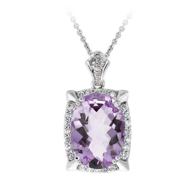 Rhodium Plated 5.4ct Amethyst & CZ Oval Necklace