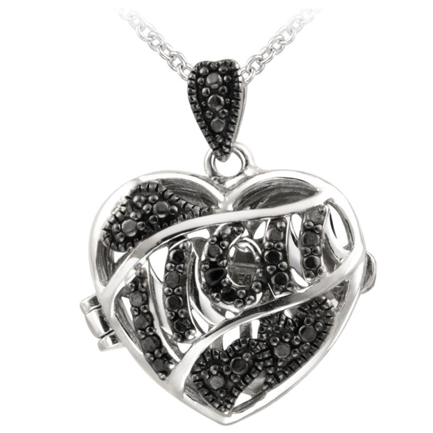 Silver-Tone Black Diamond Accent MOM  Heart Locket Necklace