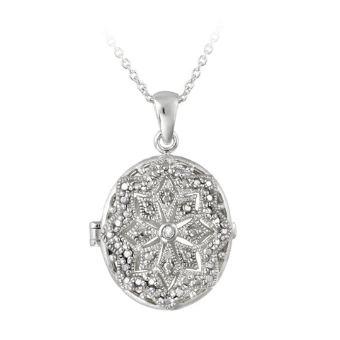 Diamond Accent Filigree Oval Locket Necklace