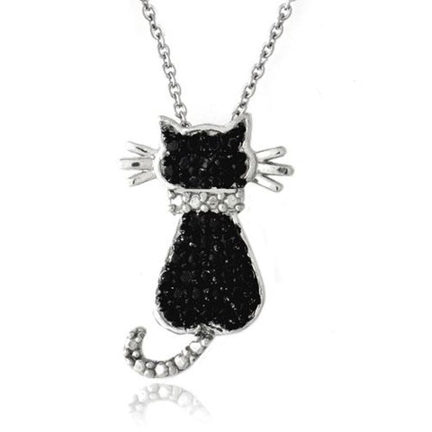 Black Diamond Accent Cat Necklace