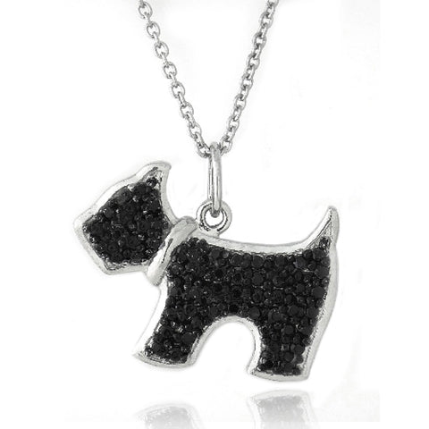 Black Diamond Accent Dog Necklace