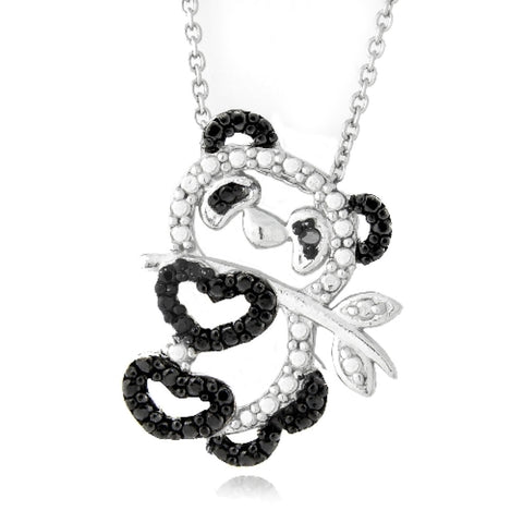 Black Diamond Accent Panda Necklace