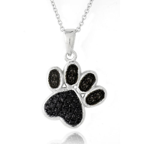 Black Diamond Accent Paw Necklace