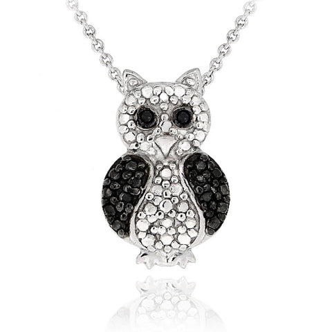 Black Diamond Accent Owl Necklace