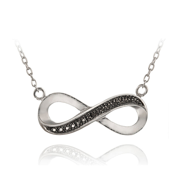 Black Diamond Accent Infinity Necklace