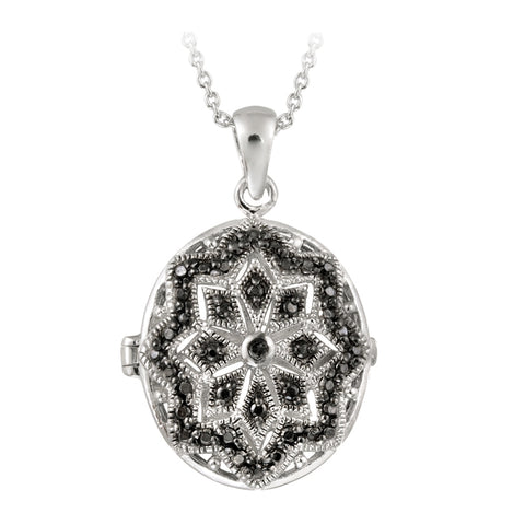 Black Diamond Accent Filigree Oval Locket Necklace