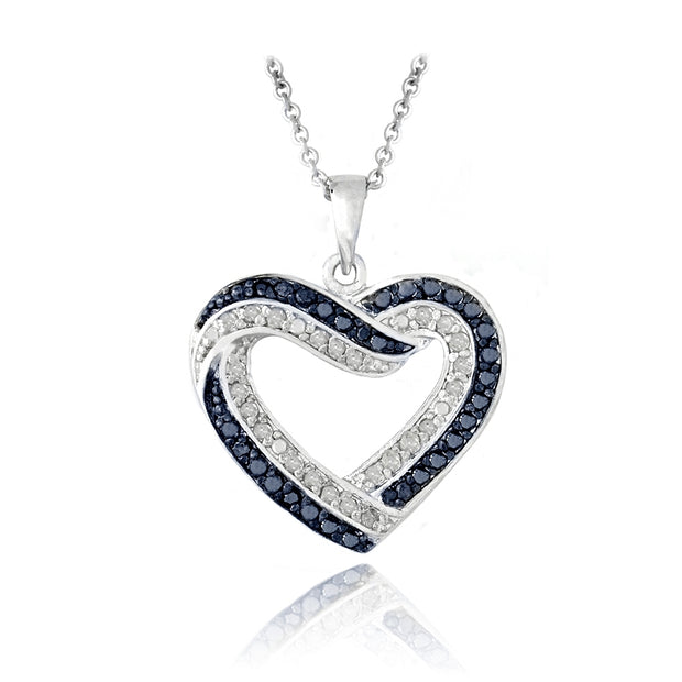 1/2 Carat tdw Blue & White Diamond Open Heart Necklace