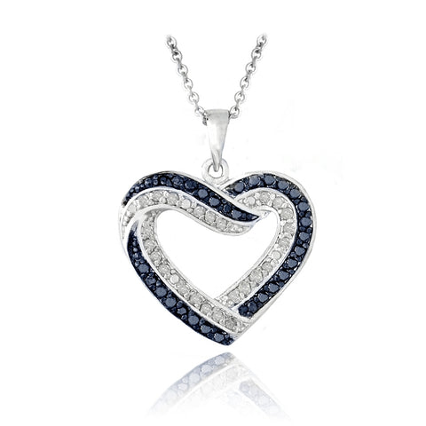 0.50ct TDW Blue & White Diamond Open Heart Necklace
