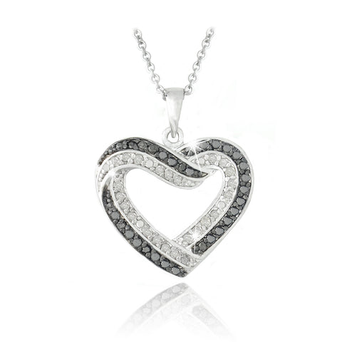 0.50ct. TDW Black & White Diamond Open Heart Necklace