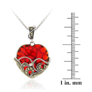 Marcasite and Garnet Colored Glass Heart Pendant, 18""